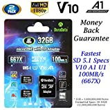 2-Pack 32GB Micro SD SDHC Card Plus Adapter (Amplim MicroSD Memory Card V10 A1 Class 10 C10 UHS-I) 2X 32 GB Ultra High Speed 100MB/s 667X TF Pro for Cell Phone Tablet GoPro Camera Fire Nintendo DJI