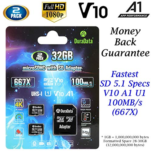 2-Pack 32GB Micro SD Card MicroSD HC V10 A1 U1 Plus Adapter - DuraData 2X SDHC 100MB/s Class 10 C10 UHS-I Full HD Video Memory Card Nintendo Dashcam GoPro Camera Samsung Canon Nikon DJI Drone Fire
