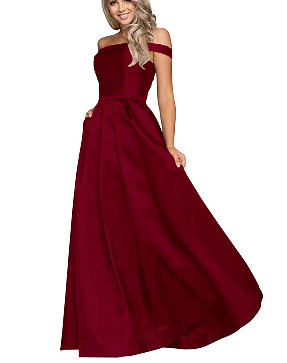 Dark Red Tmaoomo Aline Off The Shoulder Satin Prom Party Dresses for Women Formal Evening Gowns