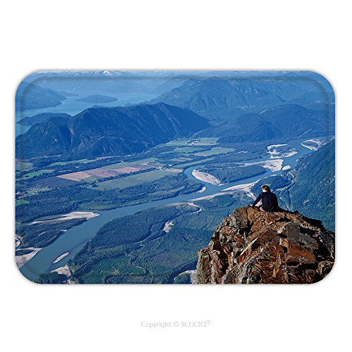 Flannel Microfiber Non-slip Rubber Backing Soft Absorbent Doormat Mat Rug Carpet Man Sitting On Mountain Top With View Of Valley River And Mountains View Of Fraser Valley And 407669404 for - Virginia Valley View