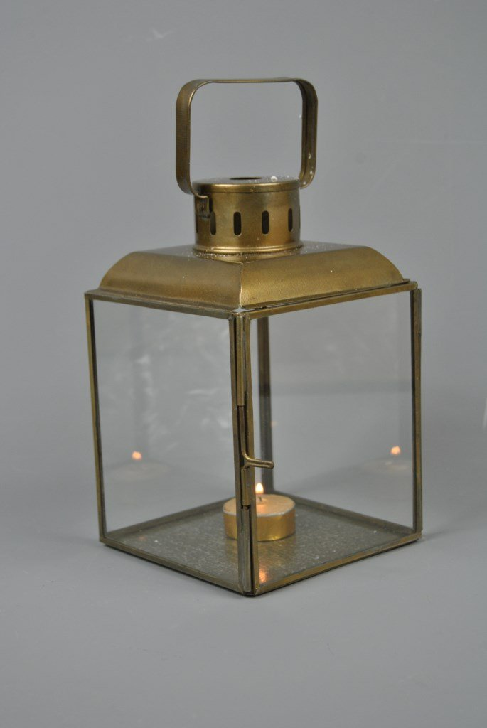 Four Seasons- Vintage style Antique Gold Glass Tealight Candle Lantern Four Seasons Liverpool