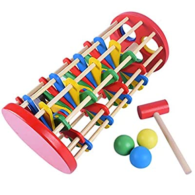 Pounding Toys,B bangcool Ladder Wooden Hammer Toy Christmas Baby Toys 12-18 Months Educational Toy Multifunctional and Bright Colours Gifts for Toddlers Children