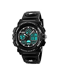 Kids Sport Outdoor Digital Unusual Analog Quartz Dual Time Zone Waterproof Watch with Chronograph Alarm Calendar Date Window for Boys Girls Children (black)