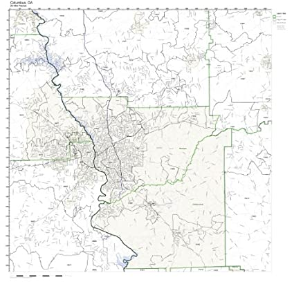 Map Of Columbus Georgia.Amazon Com Columbus Ga Zip Code Map Not Laminated Home Kitchen