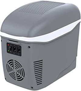 7.5L Car Refrigerator, Portable Travel Refrigerator Cooler Warmer Heating Multifunction Electric Fridge Cooler Box,for Traveling and Camping (Color : Gray)