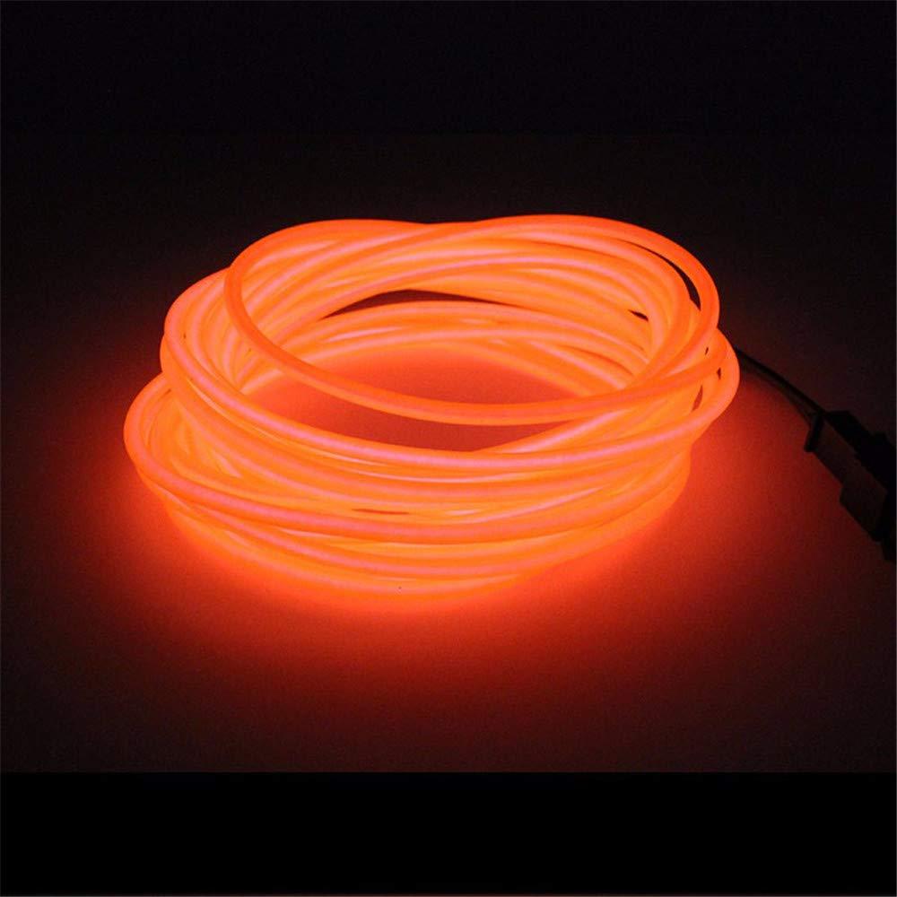 5 Meter Gl/ühender EL-Draht Neon Beleuchtung 3 Modi Dekorative Lichtschlauch Batteriebetriebener Weihnachten Licht Mit DC3V Batterie Box Treiber Rot