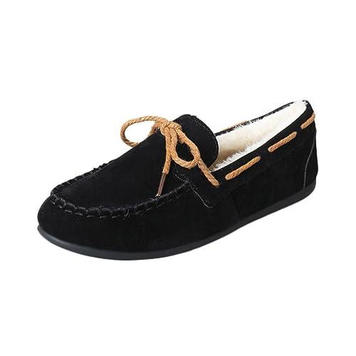 SOMESUN Women Casual Flat Shoes, Autunno Inverno Donne Warm Appartamenti Molle di Gomma Rotonde Piselli Pattini Piani Casuali (39, Wine)
