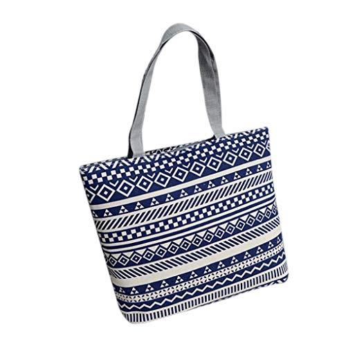 Shoulder Kanpola Shopper Shopping Girls Blue Black Printing Fashion Tote Canvas Women Bag Handbag 0g0wHxU