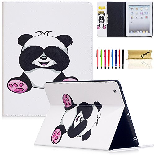Two Pandas (iPad 2 Case, iPad 3 Case, iPad 4th Generation Case, Dteck PU Leather Folio Wallet Case with Card/Money Slots Flip Protective Shell Magnetic Closure Cover for Apple iPad 2 3 4 - Lovely Panda)