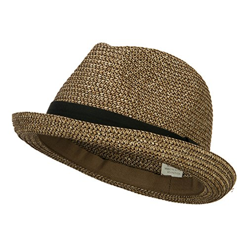 Men's Fedora with Paper Straw Braid - Gold Black L