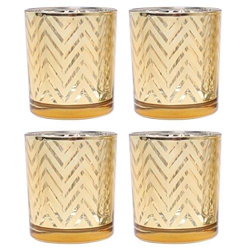Hosley s Set of 4 Gold Glass Mercury Chevron Tealight Holders - 3.15