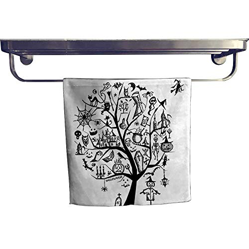 Leigh home Pool Gym Towels, Sketch Style Halloween Tree Objects and Wicked Witch B Black White ,Good Ideal for The Kid's Room, a Guest Room W 14