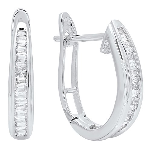 0.20 Carat (ctw) 10K White Gold Baguette Cut Diamond Ladies Hoop Earrings 1/5 (Baguette Cut Diamond Earrings)