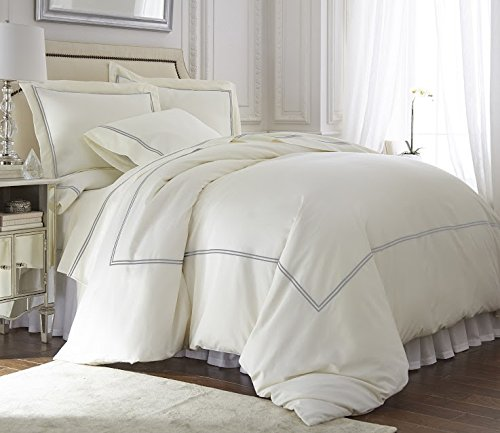 (QDiamente Venezia 4pcs Sheet Set Double Rows Stitch Embroidery eucalyptus tencel lyocell Cotton Grey/Ivory Color   Queen Size Bed)