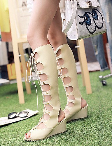 Heels Sandals Pink Shoes Women's Dress Casual Almond Outdoor Wedges Peep Heels Beige M608 almond Heel Black Toe ShangYi q0Iwfq