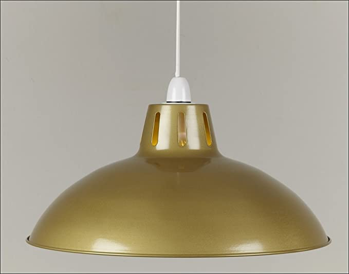 17 antique brass gold retro large metal coolie glossy lampshade 17quot antique brass gold retro large metal coolie glossy lampshade ceiling pendant modern light aloadofball Images