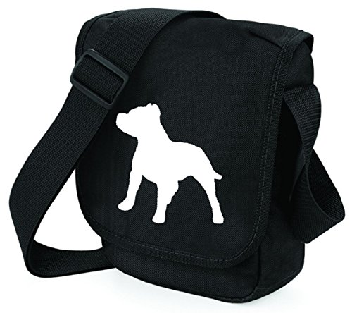 Staffordshire Bull Terrier Bag Mini Reporter Staffie Shoulder Bag Staffy Gift Choice of Colours White Dog on Black
