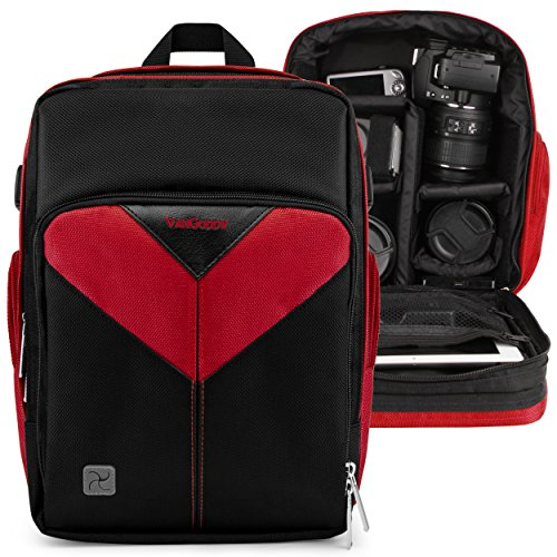 VanGoddy Sparta Fire Red DSLR & Mirrorless Camera Backpack Suitable for Canon EOS Rebel SL1/SL2/T5/T6/T7/T5i/T6i/T6s/T7i/EOS-1D X/X Mark II by Vangoddy
