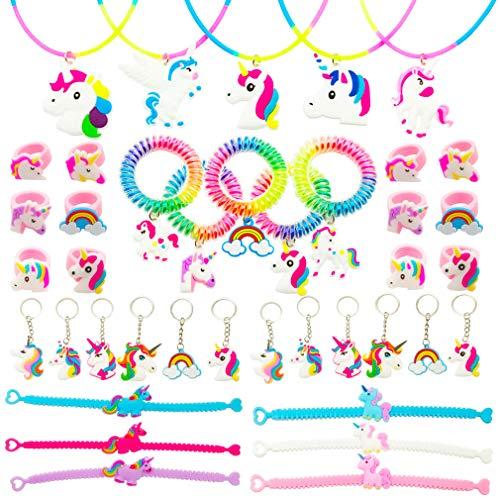 Tanlling Unicorn Party Favors Set - Unicorn Rings Necklace Keychain Bracelets Wristbands for Kids Gifts Unicorn Theme Birthday Party Supplies(40 Pack)