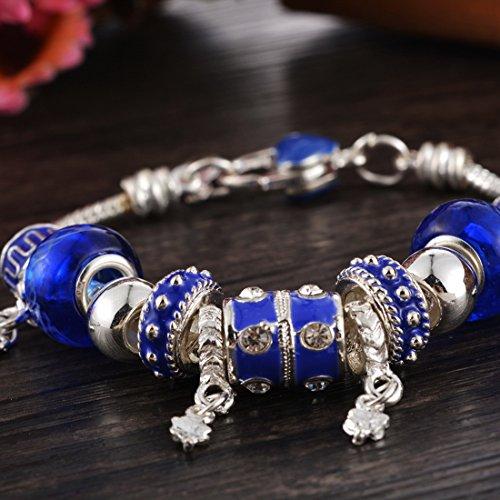 Souarts Bracelet Breloque Charms Perles Enamel Strass Couleur Argent Bleu Marine 21cm