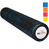 USA Foam Roller, Extra Firm High Density Foam Rollers for Exercise - 36 inch Black & Blue (2.8lbs/ft³ Density) with 3 Year Warranty