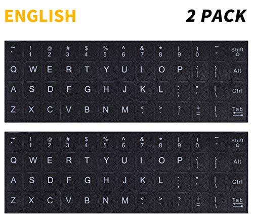 2PCS Pack Universal English Keyboard Stickers, Computer Keyboard Stickers Black Background with White Lettering for Computer Laptop Notebook Desktop (English) (Universal Keyboard For Desktop)