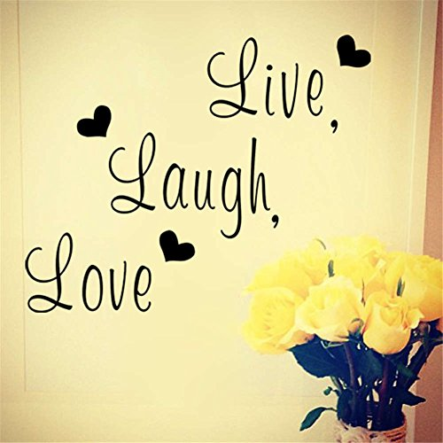 BIBITIME English Lettering Live Laugh Love Wall Decals Quotes Valentines Day Hearts Vinyl Sticker for Wedding Room Couple Lover Girlfriend Bedroom Living Room PVC Decorations -