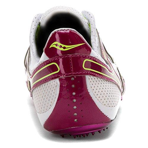 Saucony Mujer Showdown 2pista de zapatos White/Purple/Citron
