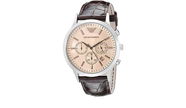 912e3f84ea06a Emporio Armani Men's AR2433 Dress Brown Leather Watch: Amazon.com.au:  Fashion