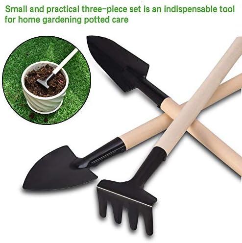 Feeko Mini Garden Tools Perfect 3 Piece Garden Set Stainless Steel Garden Tool Set Wood Handle Shovel Trowel