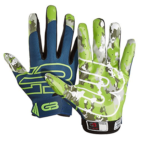 Navy Receiver Gloves (Grip Boost Stealth Football Gloves Pro Elite (Navy Blue/Green, Large))