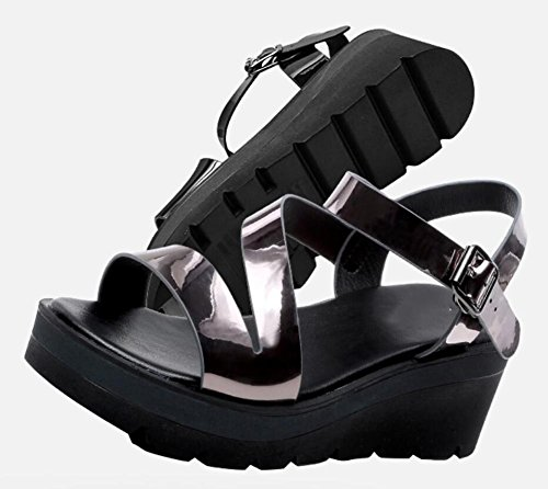 2017 Dedo Ocasional Inferior Con Pie Los Inclinación Manera 2 De La Del Las Gruesa Nueva Zapatos Abren Sandalias Molletes Hebilla Palabra rIqUxr