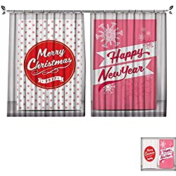 DragonBuildingMaterials Patterned Drape for Glass Door Merry Christmas Typography Greeting Card Poster Label Vector Design Template W63 x L63