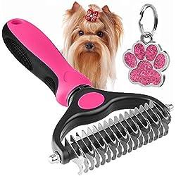 The Bestseller Pet Grooming Comb – Dematting, Deshedding Detangler Tool for Dogs & Cats Dual Head 17 + 9 Teeth Pink
