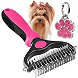 The Bestseller Pet Grooming Comb – Dematting - Deshedding Detangler Tool for Dogs & Cats Dual Head 17 + 9 Teeth Pink