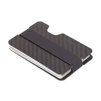 MAGAI Caja de Regalo de Aluminio del Bolso de la Fibra de Carbono de Tarjeta portátil Ligera de la Cartera (Color : Black): Amazon.es: Hogar
