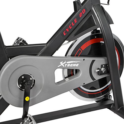 XtremepowerUS CYCLE 20 Exercise Bike Indoor Cycling Bicycle w/ 20lbs Chrome Flywheel (Black and Red, w/ Treadmill Mat)