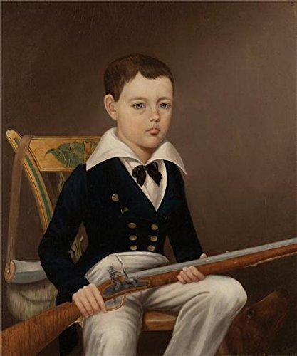 Oil painting `不明な、ヒュー・ギブソンGlenn with Flintlock Rifle ca。1830`印刷on Perfect effectキャンバス、12x 14インチ/30x 37cm、最高のゲームルームアートワークとホームデコレーションとギフトは、この美しいアート装飾キャンバスプリントの商品画像