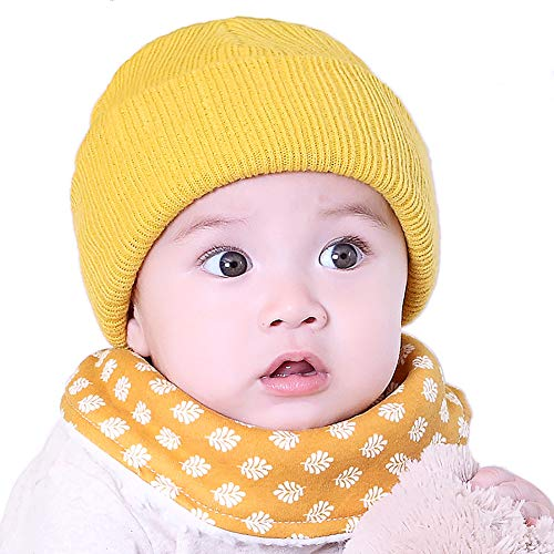 Kidstree Baby Cable Ribbed Knit Beanie Hat Cap Kids Toddler Infant Winter Warm Hat for Girls Boys Yellow A