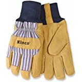 KINCO 1927KW-XL Men's Lined Grain Pigskin Gloves, Heat Keep Lining, Knit Wrist, X-Large, Golden