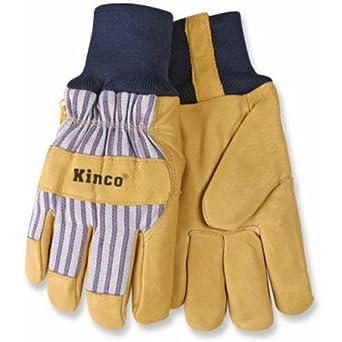 KINCO 1927KW-M Men's Lined Grain Pigskin Gloves, Heat Keep Lining, Knit Wrist, Medium, Golden