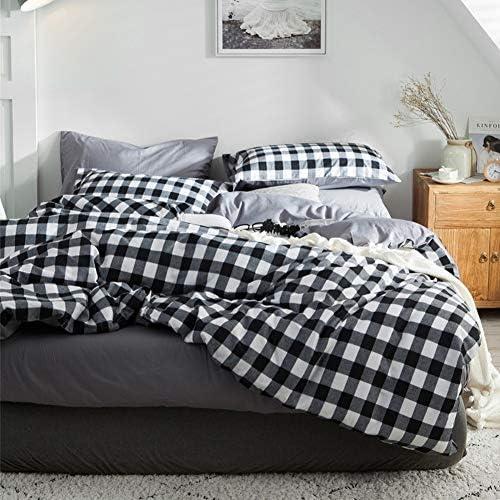 Carreaux Ensemble de literie 2/3 pièces Plaid Coton Confortable Housse de couette et Taies d'oreiller,3PCSKing(240cm*220cm)
