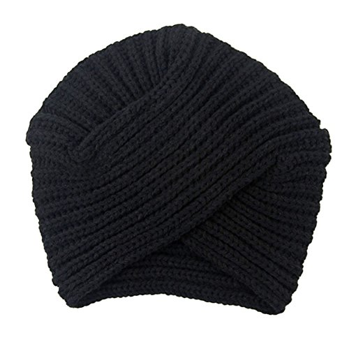 S&M TREADE Womens Ladies Winter Warm Turban Soft Knit Headband Beanie Hat Crochet Headwrap (Black)