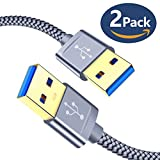 USB A to A Male Cable, JSAUX 2 Pack(3.3ft+6.6ft) USB 3.0 Male to Male Cable USB to USB Extension Cord with Gold-Plated Connector for Hard Disk Drive Box, DVD Player, Laptop Cooler and More (Grey)