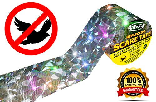 Bird Repellent Tape, Scare Birds Away, Like Woodpeckers, Pigeons, Grackles, Herons, Ducks, Geese & Other Pest Birds. Simple & Effective Holographic Reflective Control Device, Stop Damage & (Ribbon Device Types)