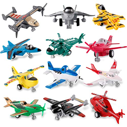 Toy Airplanes For Kids - Liberty Imports Set of 12 Pull