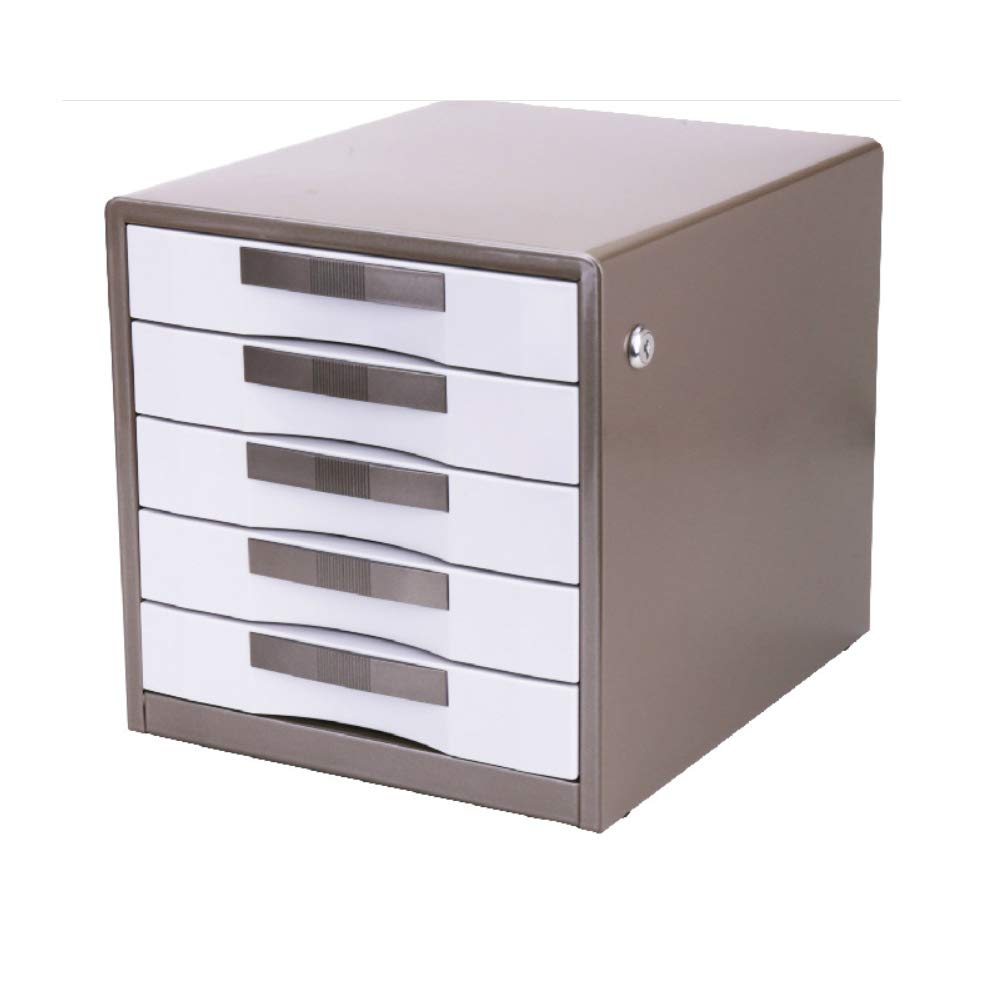 TXYJ 5-Layer Lock Metal Desktop File Cabinet - Data Cabinet - Drawer Storage Cabinet - Office Supplies (Color : Gold),Gold by TXYJ