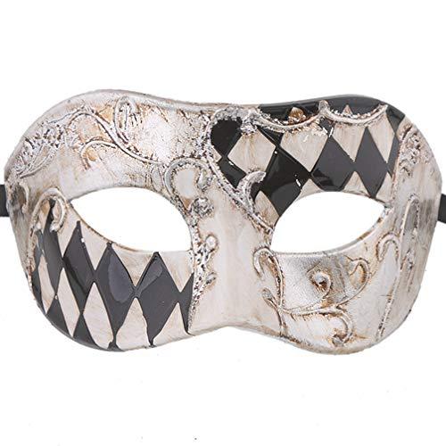 (Xvevina Cool Men Venetian Masquerade Mask for Men (Black/Silver)