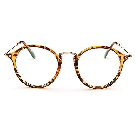 design intemporel 828ae a171e Forepin® Lunettes de Vue Rondes Unisex Cadre Frame Lentille Claire pour  Homme et Femme Vintage - Léopard