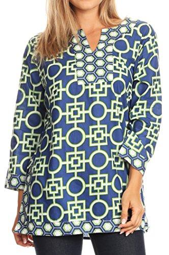Sakkas 20161 - Lara Classic Effortless Cotton Printed Mosaic Tunic / Blouse Top - Blue - 1X
